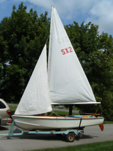Beautiful wooden sailboat with many features