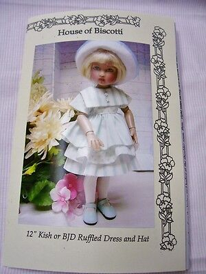 "12"" Kish or BJD Doll Pattern for Ruffled Dress, Hat"