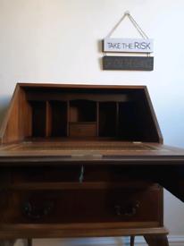 Brown wood Antique Writing Vintage Drawer Bureau Desk With working key