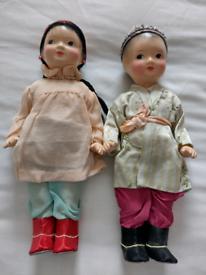 Pr of Unusual Vintage Porcelain Dolls mint cond! Viewing in garden!!