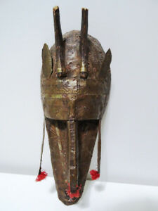 tribal MARKA MALI MASK circumcision ceremonial PUNCHED TIN COPPR