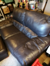 Couch leather 2 seater with footstool