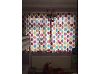 Curtains, rug and light shade