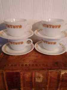 Vintage Pyrex: Four Butterfly Gold cups and saucers