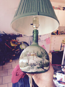 Nice old hand painted lamp London Ontario image 1