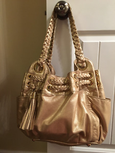 Michael Kors Leather Bag Matte Gold..New used once!