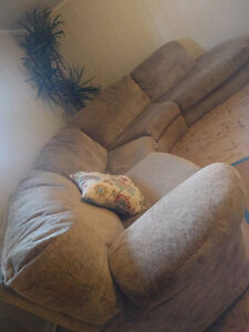 Neutral Coloured 4 pc. sectional - section with recliner