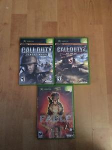 Jeux de Xbox Call of duty et Fable 1