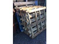 Six wood pallets