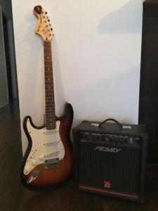 Guitare Fender Squire Stratocaster et amplificateur Peavey 250$