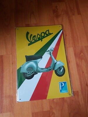 Vespa Metal Sign Plaque Garage Shed