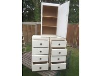Vintage 1950s bedside chest of drawers and matching cupboard all pine solid. Can deliver.