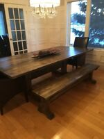 Rustic Custom Harvest Table with 2 Benches
