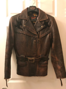 Harley Davidson Leather Jacket, Dark Brown, Women's Size Small