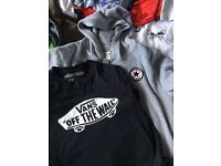 Boys vans t-shirt and converse hoodie