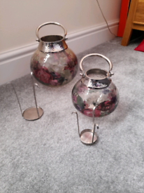 M&S glass floral lanterns large & small