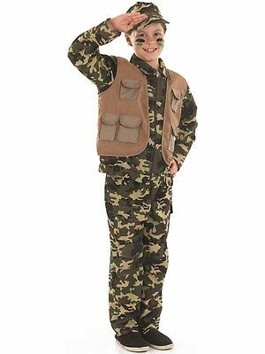 BOYS DESERT ARMY SOLDIER CAMOUFLAGE FANCY DRESS COSTUME - Desert Army Costume