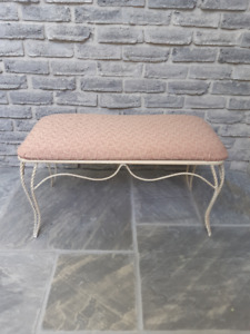 WROUGHT IRON STYLE CUSHION TOP BENCH