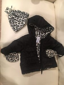 Girls black and white leopard print winter coat & accessories