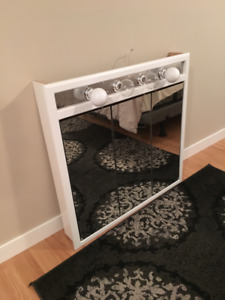 Bath mirror and vanity with light
