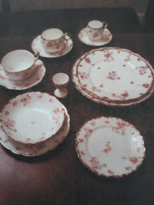 "153 pc LIMOGE China,""BRIDAL WREATH"" France Bawo & Dotter"