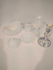 WHITE AND PINK MILK GLASS