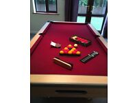 Slate bed pool table & accessories