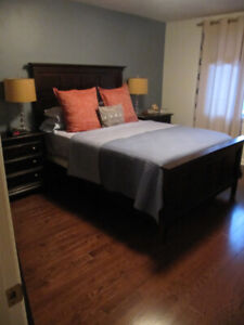 Wood Queen Bed Frame and Side Tables