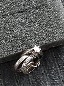 Wedding ring set siver charm