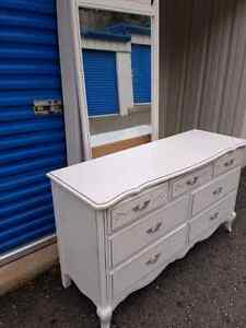 White shabby chic long dresser with mirror - 7 drawers