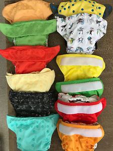 12 Cloth Diapers + Large Wetbag