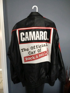 Chevy Camaro Leather Jacket Official Car of Rock & Roll Black Re