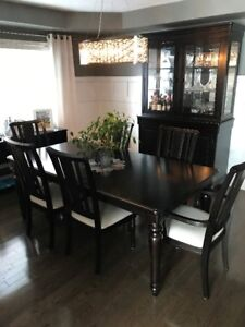 Solid Black Dining Room Table and Hutch - Ashley Furniture