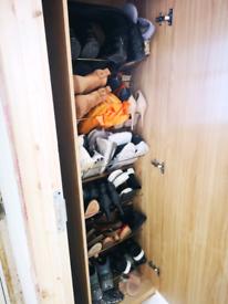 Mirror Shoe Wardrobe Cabinet Oak Tall