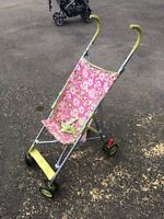 Pink and Green Umbrella Stroller