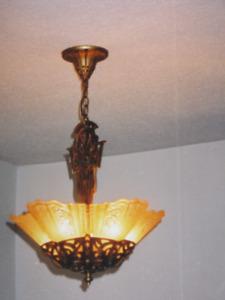 Antique amber glass 5 slip shade chandelier