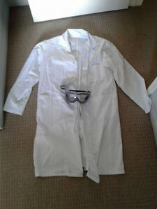 Selling a lab coat and a pair of adjustable lab goggles
