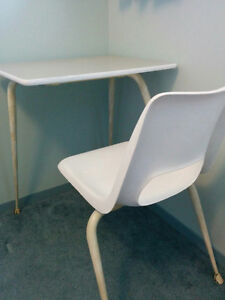 Vintage One-Peice School Desk and Chair - in White and Cream