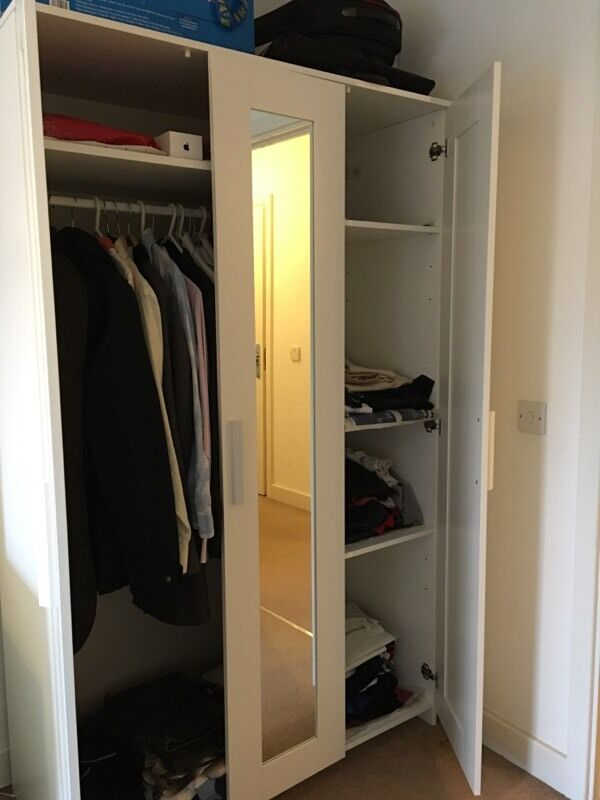 wardrobe ikea brimnes with 3 doors white 117x190 cm. Black Bedroom Furniture Sets. Home Design Ideas