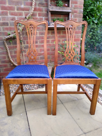 Two Vintage 1950's Regal Style Dining Chairs Blue satin