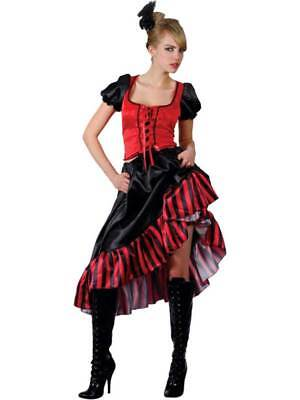 Ladies Western Can Can Saloon Girl Red Fancy Dress Wild West Costume UK 6-28 (Wild West Fancy Dress Kostüme Uk)