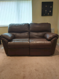 Leather reclining 2 seater sofa scs make great condition Yate