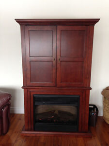 Tv hutch cabinet stand with electric fireplace