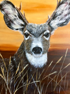 Original painting Art Deer Portrait