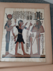 2 x Egyptian paintings on parchment, framed.