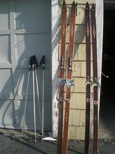 vintage Sigmund Ruud Skis and poles