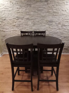 Drop leaf solid wood dining table set for sale