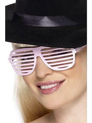 80's Grill Specs Pink Kanye West Shutter GLASSES - LADIES FANCY DRESS