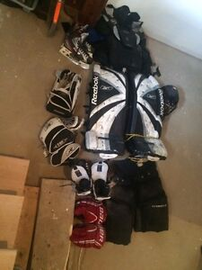 Goalie gear, shares and gloves