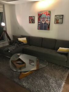 Contemporary Custom Made Sectional Sofa Couch with L Chaise